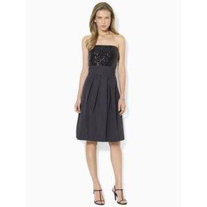 Ralph Lauren Evening Strapless Sequin Bodice Dress